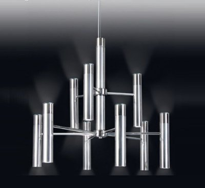 Lustre Tubos Metal Cromado Vertical Moderno 73x78cm Old Artisan 18x GU10 Dicróica Bivolt PD4950-9 Salas e Hall