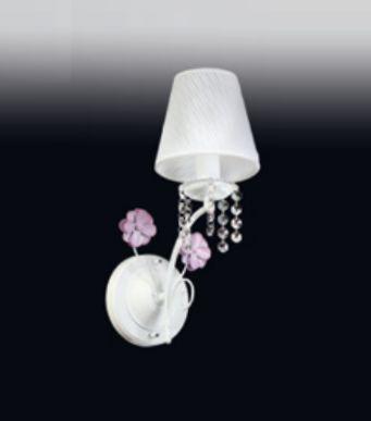 Arandela Rosas Cristal Cupula Tecido Metal Branco 36x12cm Old Artisan 1x E14 Bivolt AR-4939A Corredores e Salas