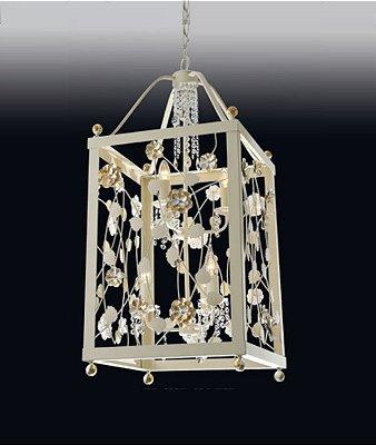 Pendente Rosas Retangular Metal Dourado Cristal 94x44cm Old Artisan 12x E27 Bivolt PD4937 Entradas e Salas