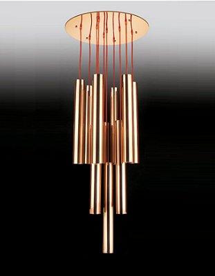Pendente 10 Tubos Moderno Vertical Metal Cobre 200x65cm Old Artisan 10x GU10 Dicróica Bivolt PD-4828 Salas e Hall