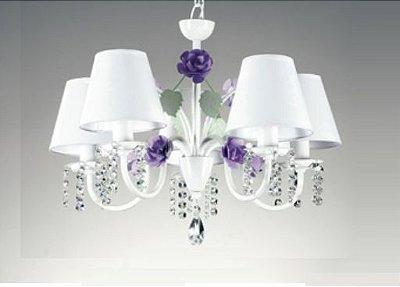 Lustre Rosas Candelabro Metal Branco 5 Braços Cristal 40x50cm Old Artisan 5x E27 Bivolt PL164-5 Salas e Hall