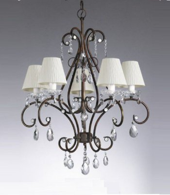 Lustre Candelabro Metal Curvo Cupula Tecido Cristal 80x65 Old Artisan 5x E27 Bivolt PL109-5 Salas e Hall