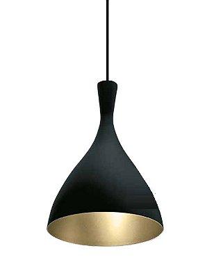 Pendente Pear Conico Curvo Vertical Metal Preto 28,5x20cm Newline Lâmpada E27 SNT305PTDO Salas e Corredores