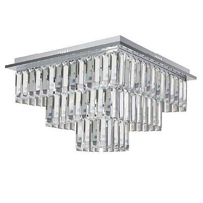 Plafon Vitra Quadrado Cristal Transparente Metal Cromado 37x50cm Luciin 8x Lâmpadas E14 TR007 Salas e Entradas
