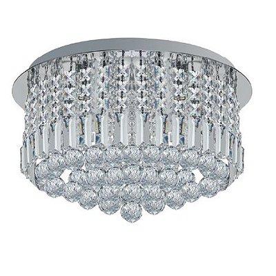 Plafon Cercle Redondo Metal Cristal Transparente 30x50cm Luciin 7x Lâmpadas G9 Halopin 40W TR004 Salas e Hall