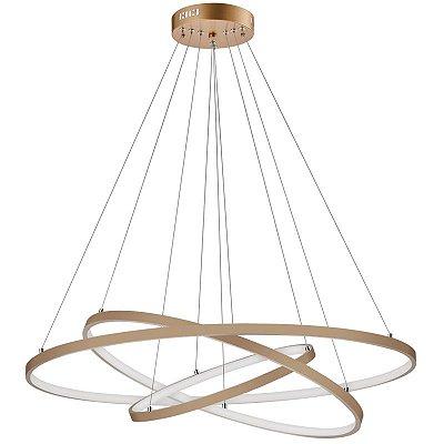 Pendente Gold Rings LED Moderno Metal Decorativo Dourado 30x80cm Luciin LED 90W 3000K YA007 Salas e Entradas