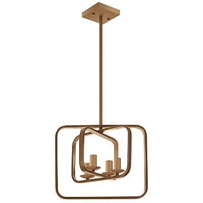 Pendente Fitting Aros Quadrados Moderno Metal Dourado 120x38cm Luciin 4x Lâmpadas E14 YA013 Salas e Entradas