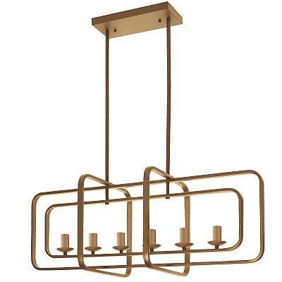 Pendente Fitting Duplo Aros Moderno Metal Dourado 120x92cm Luciin 6x Lâmpadas E14 YA014 Salas e Entradas