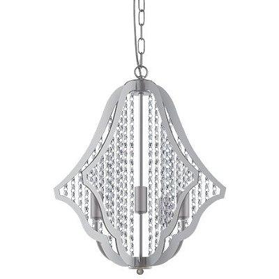 Pendente Cup Vertical Metal Branco Cristal Transparente 51x48cm Luciin 5x Lâmpadas E14 YA022 Salas e Hall
