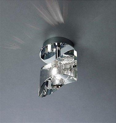 Plafon Krom Vidro Transparente Metal Cromado 14x13,5cm Mantra 1x G9 Halopin Bivolt 0897 Quartos e Salas
