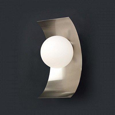 Arandela Snow Glass Metal Curvo Esfera Vidro 33x16cm Mantra 1x Lâmpada E27 40W Bivolt 2559 Salas e Quartos