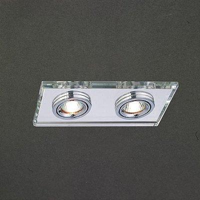 Spot Project Duplo Embutido Retangular Direcionável 9,2x17,5cm Mantra 2x Minidicróica 20W 2730 Entradas e Salas