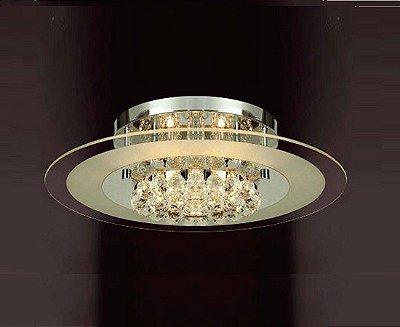 Plafon Atla Redondo Sobrepor Vidro Cristal Metal 15x50cm Mantra 6x G9 Halopin 40W Bivolt 2774 Salas e Entradas