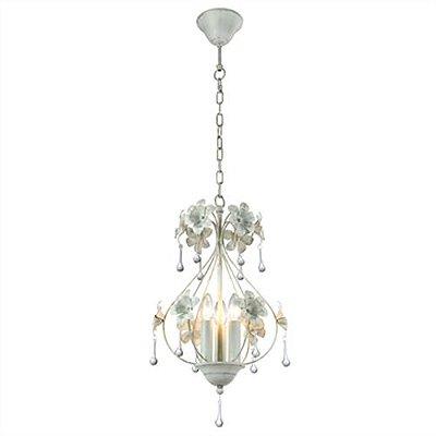 Lustre Margot Flores Alumínio Branco Vertical 35x26,8cm Mantra 3x Lâmpadas E14 40W Bivolt 2807 Salas e Entradas