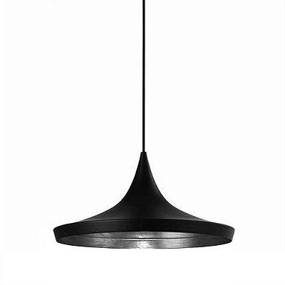Pendente Zen Cônico Alumínio Preto Prata Vertical 21,8x36cm Mantra 1x E27 40W Bivolt 2830 Balcões e Cozinhas