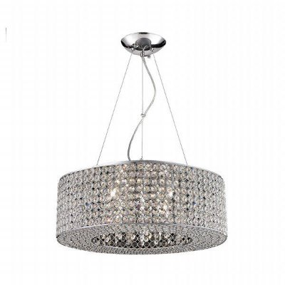 Pendente Shine Redondo Cristal Transparente Metal 50x218cm Mantra 10x G9 Halopin 40W Bivolt 30020 Salas e Hall