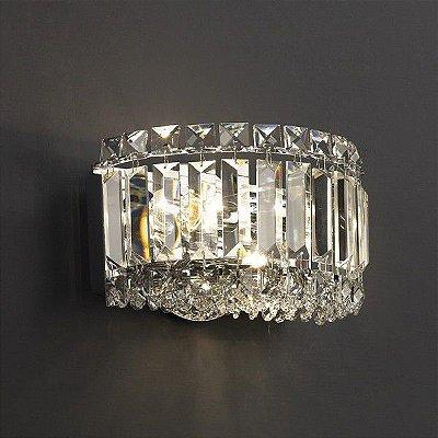 Arandela Bes Cristal Transparente Metal Cromado 13x20cm Mantra 2x Lâmpadas E14 40W Bivolt 30040 Salas e Entradas