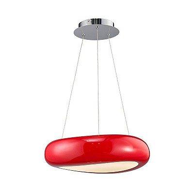 Pendente Unna LED Policarbonato Acrílico Vermelho 42x50cm Mantra Placa LED 3000K 24W Bivolt 30253 Salas e Cozinhas