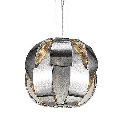 Pendente Stark Redondo Moderno Alumínio Cromado 42x45cm Mantra 3x E27 24W Bivolt 30339 Salas e Corredores