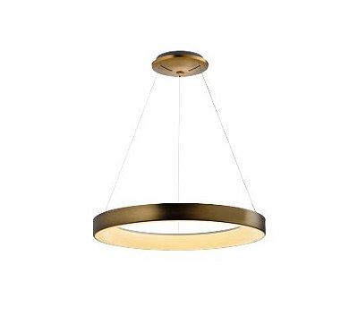 Pendente Sacris Gold LED Disco Alumínio Ouro Velho 150x65cm Mantra 1x LED 50W Bivolt 30512 Mesas e Corredores