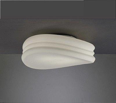 Plafon Mediterraneo Vidro Leitoso Branco Metal Cromado 18x50cm Mantra 4x E27 13W Bivolt 3623 Entradas e Salas