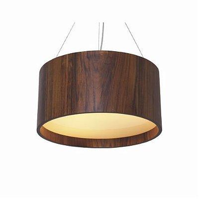 Pendente Cilindrico Redondo Madeira Imbuia Vidro 25x50cm Accord Iluminação 3x E27 25W Bivolt 202 Salas e Cozinhas
