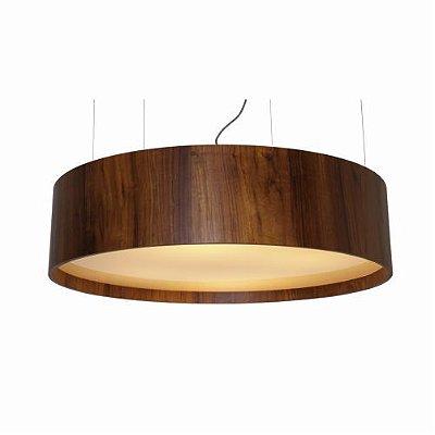 Pendente Cilindrico Horizontal Redondo Madeira Imbuia 25x80cm Accord Iluminação 7x E27 Bivolt 204 Salas e Quartos