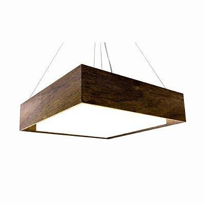 Pendente Meio Esquadro Madeira Imbuia Quadrado Acrílico 12x60cm Accord Iluminação 4x E27 25W 276 Salas e Entradas