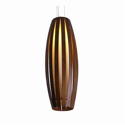 Pendente Barril Ripado Vertical Madeira Imbuia Acrílico 100x17cm Accord Iluminação 1x E27 305 Quartos e Salas