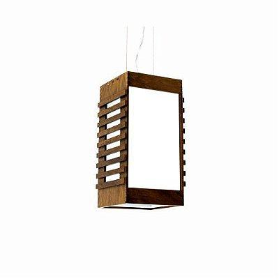 Pendente Ripada Aberto Retangular Madeira Imbuia 30x15cm Accord Iluminação 1x E27 25W Bivolt 601 Salas e Quartos