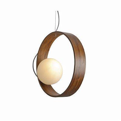 Pendente Sfera Disco Vertical Vidro Madeira Imbuia 35x15cm Accord Iluminação 1x E27 25W Bivolt 620 Salas e Hall
