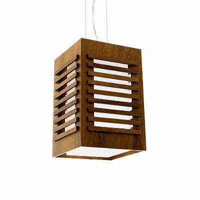 Pendente Ripada Vertical Retangular Madeira Imbuia 30x19cm Accord Iluminação 1x E27 25W Bivolt 801 Salas e Cozinhas