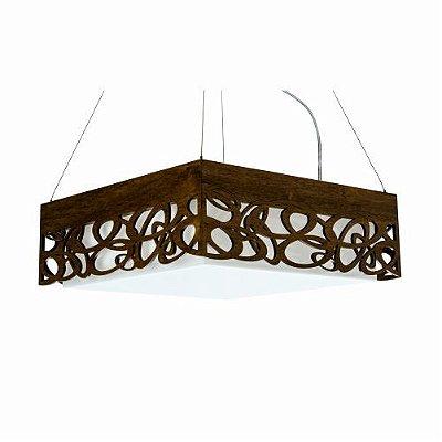 Pendente Olimpico Quadrado Madeira Imbuia 15x55cm Accord Iluminação 4x E27 25W Bivolt 1001 Salas e Quartos