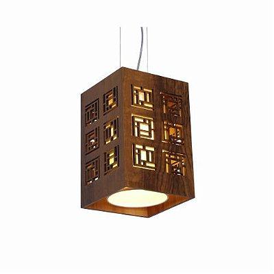 Pendente Labirinto Cubo Vertical Madeira Imbuia 30x20cm Accord Iluminação 1x E27 25W Bivolt 1020 Salas e Entradas