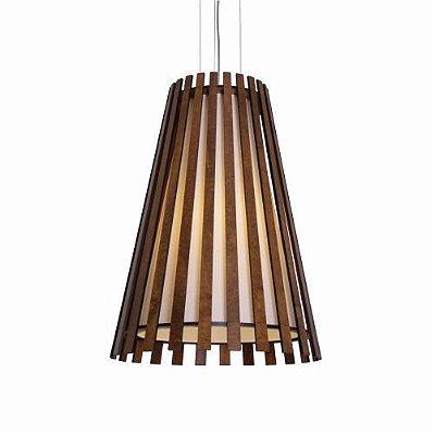 Pendente Ripada Cônico Vertical Madeira Imbuia 70x51cm Accord Iluminação 1x E27 25W Bivolt 1021 Salas e Entradas