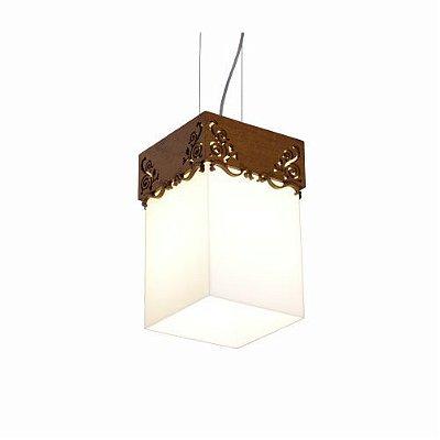 Pendente Renda Vidro Vertical Madeira Imbuia 30x15cm Accord Iluminação 1x E27 25W Bivolt 1023 Salas e Quartos