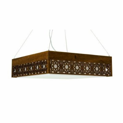 Pendente Star Quadrado Horizontal Madeira Imbuia 15x45cm Accord Iluminação 3x E27 25W Bivolt 1049 Salas e Entradas