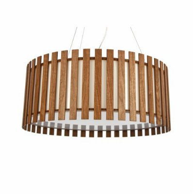 Pendente Ripado Cilindrico Redondo Madeira Imbuia 25x60cm Accord Iluminação 3x E27 25W Bivolt 1093 Salas e Quartos