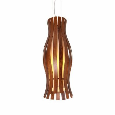 Pendente Tulipa Ripada Vertical Madeira Imbuia 100x27cm Accord Iluminação 1x E27 25W Bivolt 1099 Corredores e Salas