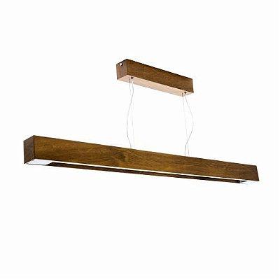 Pendente Slim Longo Horizontal Madeira Imbuia 8x125cm Accord Iluminação 1x Tubular 25W 1117 Mesas e Balcões