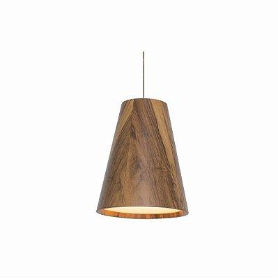 Pendente Cone Tubo Cônico Vertical Madeira Imbuia 25x20cm Accord Iluminação 1x E27 25W Bivolt 1130 Salas e Cozinhas