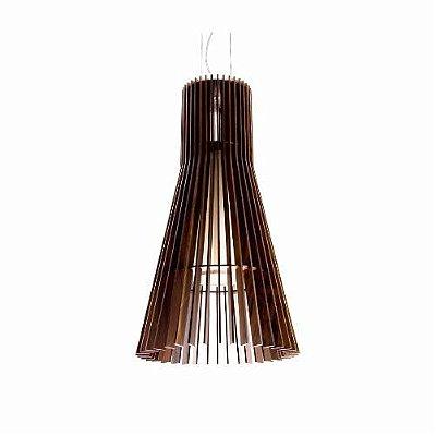 Pendente Stecche Di Legno Cônico Madeira Imbuia 60x30cm Accord Iluminação 1x E27 25W Bivolt 1138 Salas e Entradas