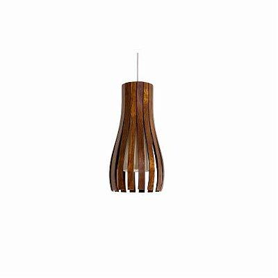 Pendente Ripado Vertical Curvo Madeira Imbuia 35x20cm Accord Iluminação 1x E27 25W Bivolt 1153 Mesas e Balcões