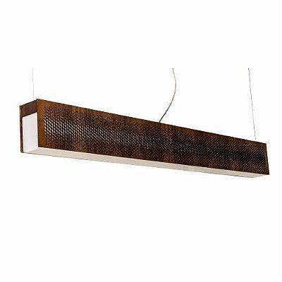 Pendente Slim Wabe Horizontal Madeira Imbuia 15x130cm Accord Iluminação 1x LED G13 Tubular 1205 Mesas e Balcões