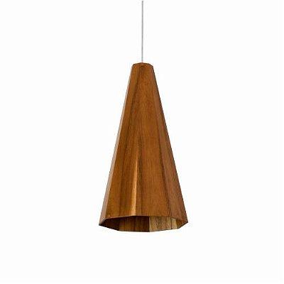 Pendente Cônico Facetado Vertical Madeira Imbuia 40x22cm Accord Iluminação 1x E27 25W Bivolt 1231 Salas e Hall