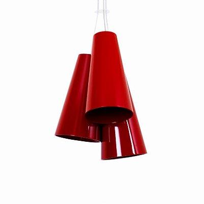 Pendente Triplo Cônico Cilindrico Madeira Imbuia 40x34,5cm Accord Iluminação 3x E27 25W Bivolt 1234 Salas e Mesas