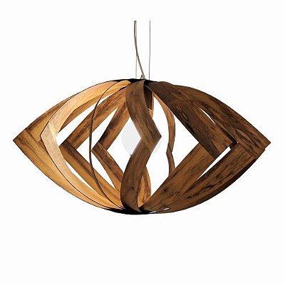 Pendente Versátil Aramado Horizontal Madeira Imbuia 48x85cm Accord Iluminação 1x E27 Bivolt 1244 Salas e Cozinhas