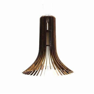 Pendente Stecche Di Legno Vertical Madeira Imbuia 140x128cm Accord Iluminação 1x E27 Bivolt 1253 Salas e Cozinhas