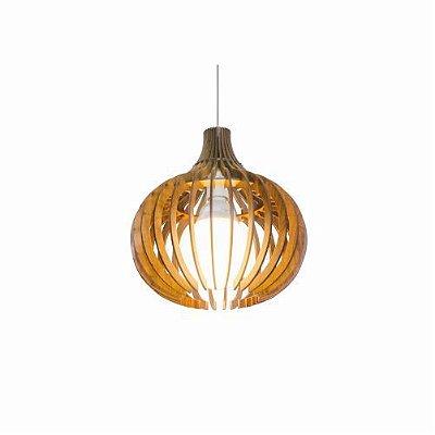 Pendente Stecche Di Legno Esfera Madeira Imbuia 80x79cm Accord Iluminação 1x E27 Bivolt 1255 Salas e Cozinhas