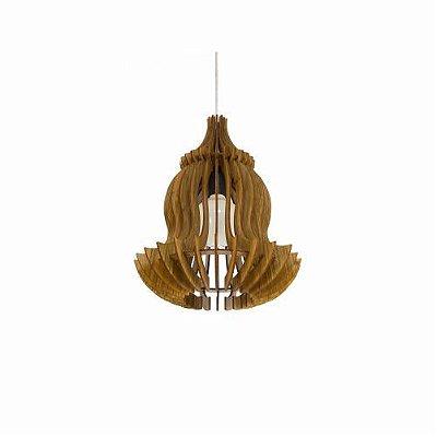Pendente Stecche Di Legno Vertical Madeira Imbuia 37x30cm Accord Iluminação 1x E27 Bivolt 1268 Salas e Cozinhas